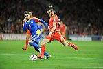 UEFA EURO 2016 Qualifier match between Wales and Andorra at Cardiff City Stadium in Cardiff : Gareth Bale of Wales is marked by Moises San Nicolas of Andorra in the first half.