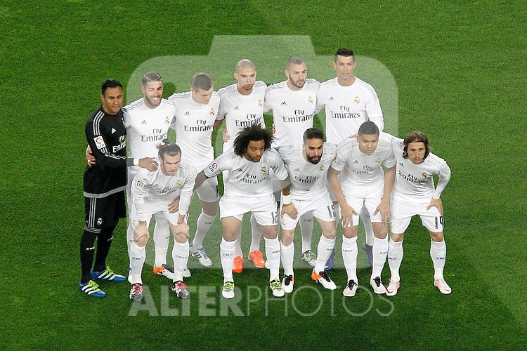 Real Madrid's team photo with Keylor Navas, Sergio Ramos, Toni Kroos, Pepe, Karim Benzema, Cristiano Ronaldo, Gareth Bale, Marcelo Vieira, Daniel Carvajal, Carlos Henrique Casemiro and Luka Modric during La Liga match. April 2,2016. (ALTERPHOTOS/Acero)
