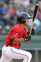 Shortstop Tzu-Wei Lin (36) of the Greenville Drive bats in a game against the Asheville Tourists on Tuesday, July 1, 2014, at Fluor Field at the West End in Greenville, South Carolina. Lin is the No. 28 prospect of the Boston Red Sox, according to Baseball America. Asheville won, 5-2. (Tom Priddy/Four Seam Images) (Tom Priddy/Four Seam Images)