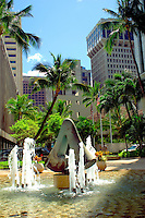 Fort Street Mall Fountain, Downtown Honolulu, Hawaii