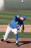 Nick Vander Tuig #21 of the UCLA Bruins pitches against the Washington State Cougars at Jackie Robinson Stadium on March 24, 2012 in Los Angeles,California. UCLA defeated Washington 12-3.(Larry Goren/Four Seam Images)