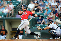 Indianapolis Indians catcher Tony Sanchez #19 at bat in front of catcher Francisco Cerveilli during a game against the Empire State Yankees at Frontier Field on August 4, 2012 in Rochester, New York.  Empire State defeated Indianapolis 9-8 in ten innings.  (Mike Janes/Four Seam Images)