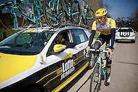 Sep Vanmarcke (BEL/LottoNL-Jumbo) at the team car<br /> <br /> 103rd Scheldeprijs 2015