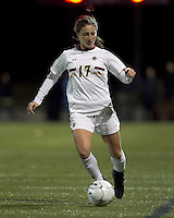 """Boston College forward Alaina Beyar (17) passes the ball. Boston College defeated West Virginia, 4-0, in NCAA tournament """"Sweet 16"""" match at Newton Soccer Field, Newton, MA."""