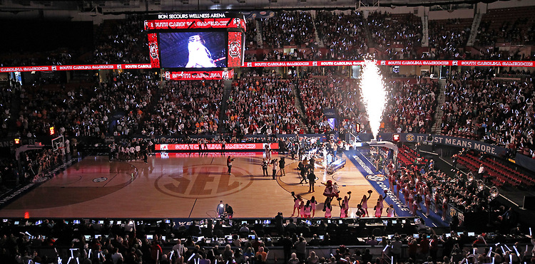 Bon Secours Wellness Arena comes alive as the South Carolina Gamecocks are introduced before the SEC championship game in Greenville, S.C. on Sunday, March 8, 2020. (Travis Bell/SIDELINE CAROLINA)