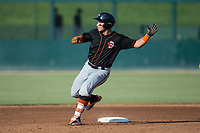 Daniel Fajardo (14) of the Delmarva Shorebirds puts on the brakes as he rounds second base after hitting a double against the Kannapolis Intimidators at Kannapolis Intimidators Stadium on July 2, 2017 in Kannapolis, North Carolina.  The Shorebirds defeated the Intimidators 5-4.  (Brian Westerholt/Four Seam Images)