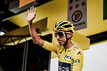 Yellow Jersey Egan Bernal (COL) Team Ineos at sign on before Stage 20 of the 2019 Tour de France running 59.5km from Albertville to Val Thorens, France. 27th July 2019.<br /> Picture: ASO/Pauline Ballet | Cyclefile<br /> All photos usage must carry mandatory copyright credit (© Cyclefile | ASO/Pauline Ballet)