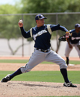 Corey Frerichs of the Milwaukee Brewers plays in a spring training game against the Los Angeles Dodgers at the Brewers complex on April 2, 2011 in Phoenix, Arizona. .Photo by:  Bill Mitchell/Four Seam Images.