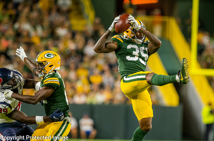 Green Bay Packers against the Houston Texans during a preseason game at Lambeau Field in Green Bay on Thursday, August 8, 2019.