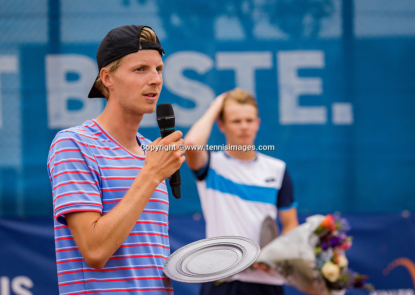Amstelveen, Netherlands, 1 August 2020, NTC, National Tennis Center, National Tennis Championships, Men's final: winners speach from Gijs Brouwer (NED) in the background runner up Jesper de Jong.<br /> Photo: Henk Koster/tennisimages.com