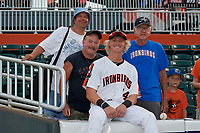 Aberdeen IronBirds Kyle Stowers (54) poses for a photo with fans before a NY-Penn League game against the Vermont Lake Monsters on August 19, 2019 at Leidos Field at Ripken Stadium in Aberdeen, Maryland.  Aberdeen defeated Vermont 6-2.  (Mike Janes/Four Seam Images)