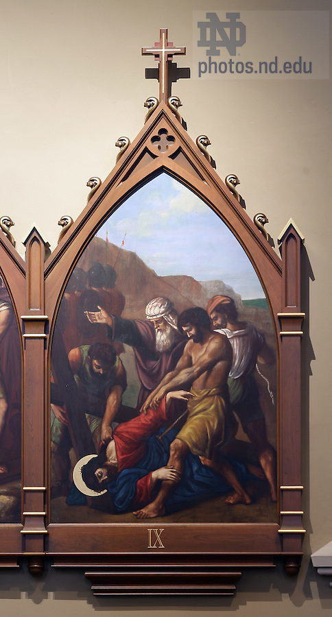 Stations of the Cross in the Basilica of the Sacred Heart.  Station 9...Photo by Matt Cashore..