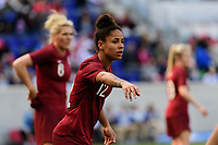 HARRISON, NJ - MARCH 08: Demi Stokes #12 of England during a game between England and Japan at Red Bull Arena on March 08, 2020 in Harrison, New Jersey.