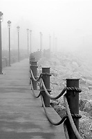 Foggy morning along Lake SUperior in downtown Grand Marais, Minnesota.