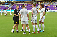 Orlando, FL - Saturday March 24, 2018: Utah Royals head coach Laura Harvey speaks to her players prior to a regular season National Women's Soccer League (NWSL) match between the Orlando Pride and the Utah Royals FC at Orlando City Stadium. The game ended in a 1-1 draw.