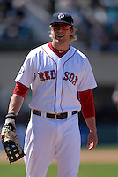 First Baseman Lars Anderson #26 of the Pawtucket Red Sox during a game versus the Toledo Mud Hens on May 1, 2011 at McCoy Stadium in Pawtucket, Rhode Island. Photo by Ken Babbitt /Four Seam Images