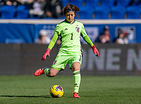 HARRISON, NJ - MARCH 08: Sakiko Ikeda #1 of Japan passes the ball during a game between England and Japan at Red Bull Arena on March 08, 2020 in Harrison, New Jersey.