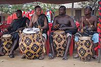 Africa,Ghana,Kumasi, drums played at Ashanti funeral
