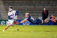 19th December 2020; AJ Bell Stadium, Salford, Lancashire, England; European Champions Cup Rugby, Sale Sharks versus Edinburgh; Cobus Weise of Sale Sharks misses a tackle on Charlie Shiel of Edinburgh Rugby