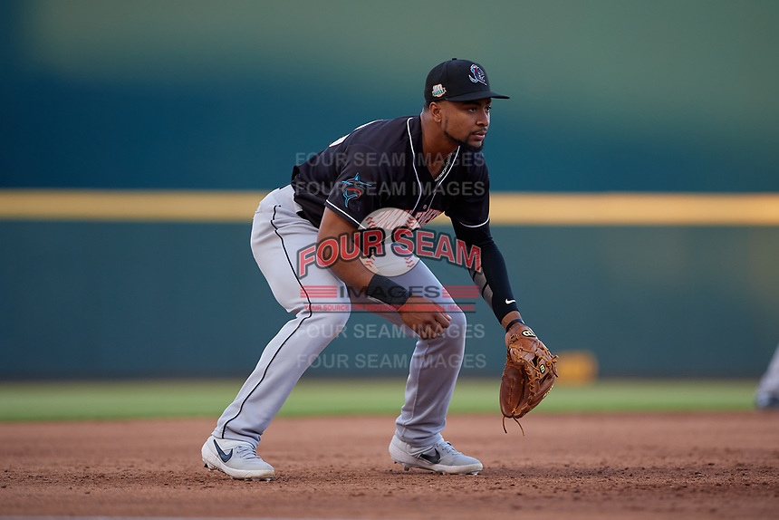 Jupiter Hammerheads third baseman James Nelson (20) during a Florida State League game against the Bradenton Marauders on April 20, 2019 at LECOM Park in Bradenton, Florida.  Bradenton defeated Jupiter 3-2.  (Mike Janes/Four Seam Images)