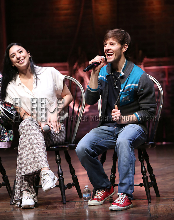 """Lauren Boyd and Thayne Jasperson during the Q & A before The Rockefeller Foundation and The Gilder Lehrman Institute of American History sponsored High School student #eduHAM matinee performance of """"Hamilton"""" at the Richard Rodgers Theatre on 3/12/2020 in New York City."""