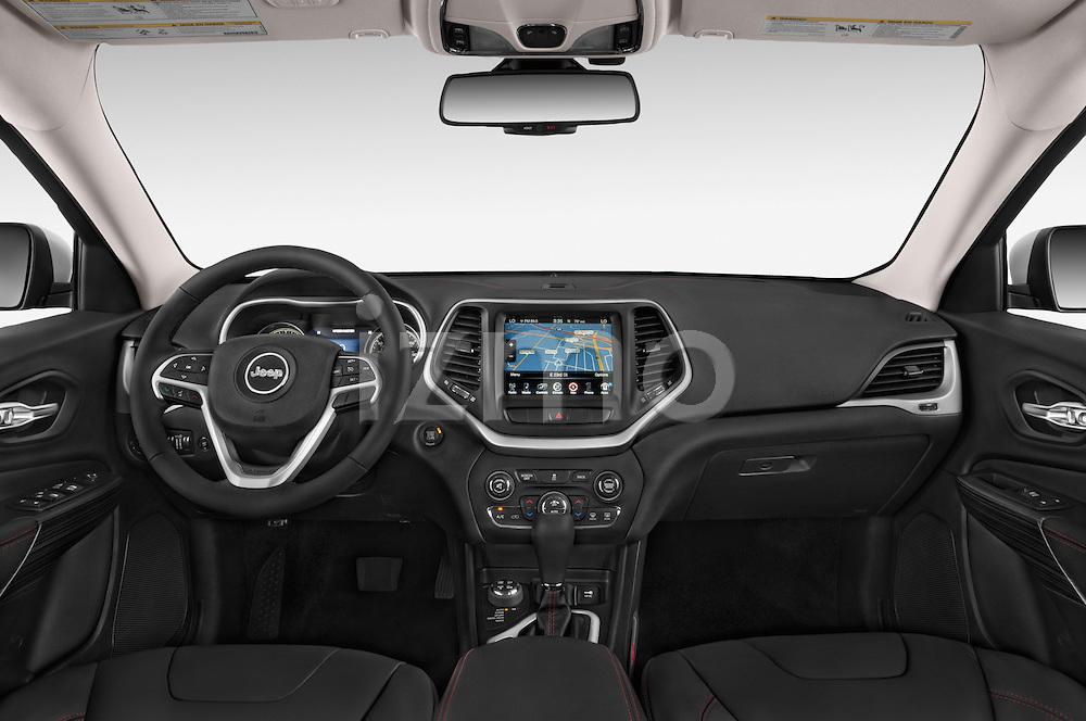 Stock photo of straight dashboard view of a 2017 Volkswagen Cherokee Trailhawk 4X4 5 Door SUV