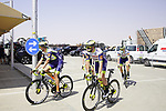 Intermarche-Wanty-Gobert Materiaux riders head to sign on before the start of Stage 3 of the 2021 UAE Tour running 166km from Al Ain to Jebel Hafeet, Abu Dhabi, UAE. 23rd February 2021.  <br /> Picture: Eoin Clarke | Cyclefile<br /> <br /> All photos usage must carry mandatory copyright credit (© Cyclefile | Eoin Clarke)