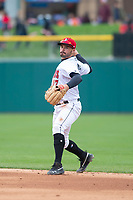Indianapolis Indians second baseman Kevin Kramer (17) during an International League game against the Columbus Clippers on April 30, 2019 at Victory Field in Indianapolis, Indiana. Columbus defeated Indianapolis 7-6. (Zachary Lucy/Four Seam Images)