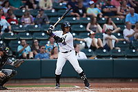 Yoelqui Cespedes (15) of the Winston-Salem Dash at bat during the game against the Greensboro Grasshoppers at Truist Stadium on June 19, 2021 in Winston-Salem, North Carolina. (Brian Westerholt/Four Seam Images)