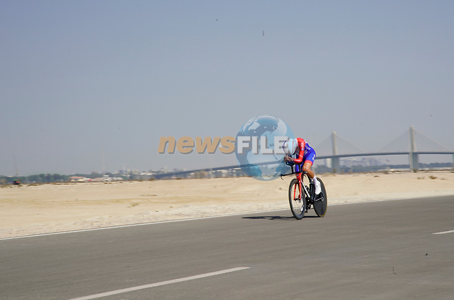 Matteo Badilatti (SUI) Groupama-FDJ during Stage 2 of the 2021 UAE Tour an individual time trial running 13km around  Al Hudayriyat Island, Abu Dhabi, UAE. 22nd February 2021.  <br /> Picture: Eoin Clarke | Cyclefile<br /> <br /> All photos usage must carry mandatory copyright credit (© Cyclefile | Eoin Clarke)