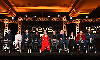 "PASADENA, CA - JANUARY 9: (L-R) Creator/Executive Producer/Writer/Director Alex Garland, cast members Sonoya Mizuno, Nick Offerman, Jin Ha, Alison Pill, Zach Grenier, Stephen McKinley Henderson, Cailee Spaeny, Karl Glusman, and Executive Producer Allon Reich attend the panel for ""Devs"" during the FX Networks presentation at the 2020 TCA Winter Press Tour at the Langham Huntington on January 9, 2020 in Pasadena, California. (Photo by Frank Micelotta/FX Networks/PictureGroup)"