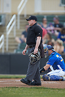 Home plate umpire Grant Akins during the NCAA baseball game between the Mars Hill Lions and the Queens Royals at Intimidators Stadium on March 30, 2019 in Kannapolis, North Carolina. The Royals defeated the Bulldogs 11-6 in game one of a double-header. (Brian Westerholt/Four Seam Images)