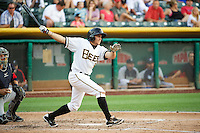 Tony Campana (6) of the Salt Lake Bees at bat against the Tacoma Rainiers in Pacific Coast League action at Smith's Ballpark on July 9, 2014 in Salt Lake City, Utah.  (Stephen Smith/Four Seam Images)
