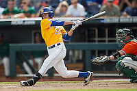 UC Santa Barbara Gauchos shortstop Clay Fisher (17) follows through on his swing against the Miami Hurricanes in Game 5 of the NCAA College World Series on June 20, 2016 at TD Ameritrade Park in Omaha, Nebraska. UC Santa Barbara defeated Miami  5-3. (Andrew Woolley/Four Seam Images)