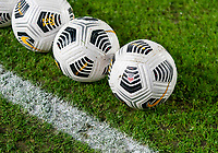 BREDA, NETHERLANDS - NOVEMBER 27: Nike soccer balls sit on the field before a game between Netherlands and USWNT at Rat Verlegh Stadion on November 27, 2020 in Breda, Netherlands.