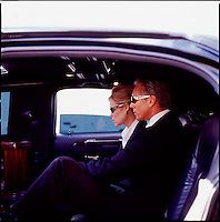 Man & Woman executive in limousine