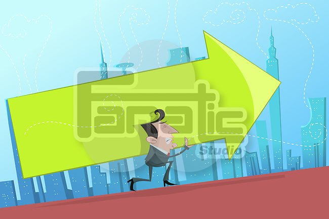 Illustrative image of businessman carrying arrow sign representing hard work