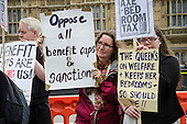 Demonstration outside Parliament on a national day of protest against bedroom tax, benefit sanctions and cuts.