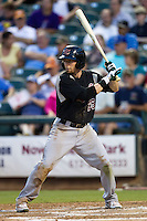 Sacramento River Cats second baseman Eric Sogard #25 at bat during the Pacific Coast League baseball game against the Round Rock Express on May 24, 2012 at the Dell Diamond in Round Rock, Texas. The Express defeated the River Cats 5-3. (Andrew Woolley/Four Seam Images).