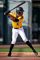 Menelik Israel during the Under Armour All-America Pre-Season Tournament, powered by Baseball Factory, on January 19, 2019 at Sloan Park in Mesa, Arizona.  Menelik Israel is an outfielder from Murrieta, California who attends Norco High School and is committed to Duke University.  (Mike Janes/Four Seam Images)