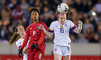 HOUSTON, TX - JANUARY 31: Rose Lavelle #16 of the United States battles with Katherine Castillo #8 of Panama for an air ball during a game between Panama and USWNT at BBVA Stadium on January 31, 2020 in Houston, Texas.