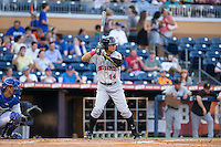 Gorkys Hernandez (14) of the Indianapolis Indians at bat against the Durham Bulls at Durham Bulls Athletic Park on August 4, 2015 in Durham, North Carolina.  The Indians defeated the Bulls 5-1.  (Brian Westerholt/Four Seam Images)