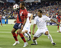 Juan Agudelo(9) of the USA MNT holds the ball in front of Paulo Cesar Da Silva(14) of Paraguay during an international friendly match at LP Field, in Nashville, TN. on March 29, 2011.Paraguay won 1-0.