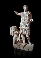 Roman statue of Emperor Trajan. Marble. Perge. 2nd century AD. Inv no11.13.79 . Antalya Archaeology Museum; Turkey. Against a black background.