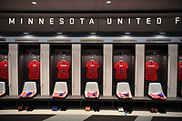 Saint Paul, MN - SEPTEMBER 03: The locker room of the United States during their 2019 Victory Tour match versus Portugal at Allianz Field, on September 03, 2019 in Saint Paul, Minnesota.