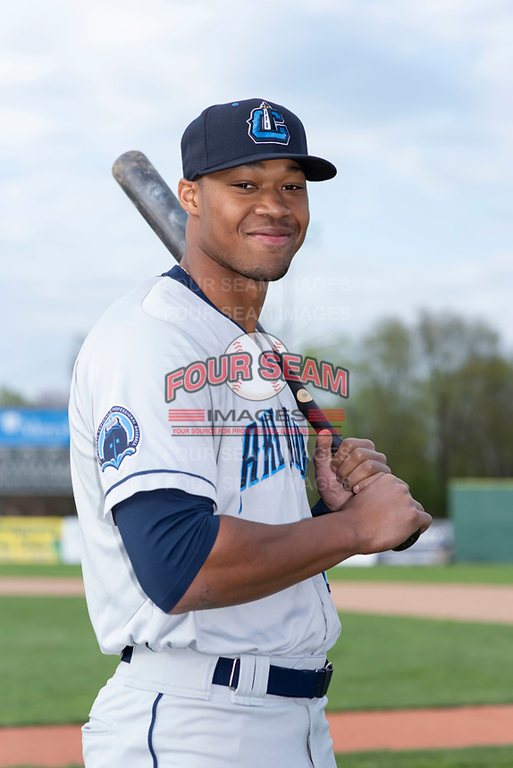 Lake County Captains outfielder Will Benson (29) poses for a photo before a Midwest League game against the Beloit Snappers at Harry C. Pohlman Field on May 6, 2019 in Beloit, Wisconsin. (Zachary Lucy/Four Seam Images)