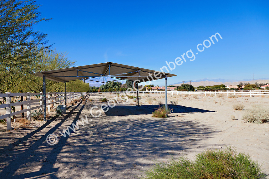 Metal roofed equestrian shade