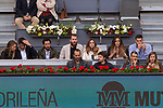 Paco Roncero and his wife, Alvaro Morata and Alice Campello, Sergio el Chacho Rodriguez and his girlfriend, and Felipe Reyes and his wife during the Mutua Madrid Open Tennis 2017 at Caja Magica in Madrid, May 12, 2017. Spain.