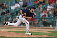 Josh Hader #17 of the Lancaster JetHawks pitches against the Lake Elsinore Storm at The Hanger on August 2, 2014 in Lancaster, California. Lake Elsinore defeated Lancaster, 5-1. (Larry Goren/Four Seam Images)