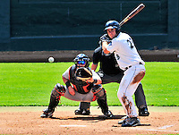 15 July 2010: Vermont Lake Monsters' catcher David Freitas in action during a game against the Aberdeen IronBirds at Centennial Field in Burlington, Vermont. The Lake Monsters rallied in the bottom of the 9th inning to defeat the IronBirds 7-6 notching their league leading 20th win of the 2010 NY Penn League season. Mandatory Credit: Ed Wolfstein Photo